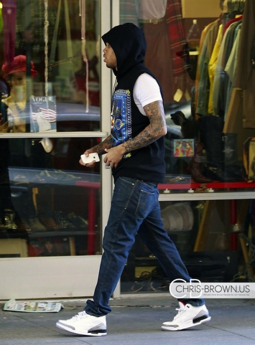 8444c8c5aad4cb Chris Brown Rocking A  685 Givenchy Sleeveless Hoodie   Air Jordan 3 Retro  Sneakers